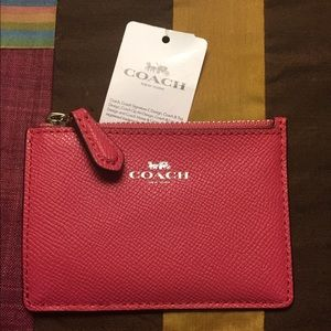 Coach Saffiano Leather Keychain ID Case